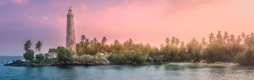 Mening van vuurtoren Dondra Matara, Sri Lanka Royalty-vrije Stock Foto's