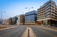 Mening van weg bij Piraeus haven, Griekenland Royalty-vrije Stock Foto's