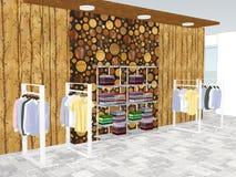 Mening van winkelcentrum met kleding vector illustratie