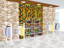 Mening van winkelcentrum met kleding royalty-vrije illustratie