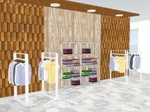 Mening van winkelcentrum met kleding stock illustratie