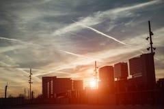 Mening van woonhuizen van Barcelona, avond, zonsondergang Stock Afbeelding