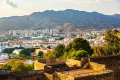 Mening van woonwijk van Malaga van hoogte van Castillo DE Gibralfaro Stock Foto's
