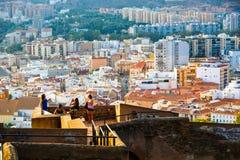 Mening van woonwijk van Malaga van hoogte van Castillo DE Gibralfaro Royalty-vrije Stock Fotografie