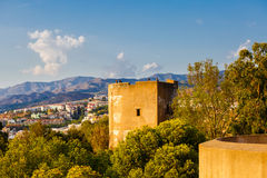 Mening van woonwijk van Malaga van hoogte van Castillo DE Gibralfaro Royalty-vrije Stock Foto