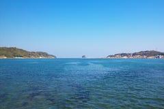 Mening van Yobuko met Kabeshima-eiland in Karatsu, Saga, Japan stock foto's