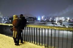 Mening van Zaryadye-park in Moskou royalty-vrije stock foto's