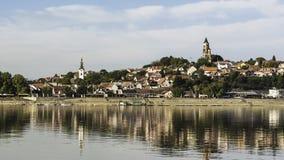 Mening van Zemun van de rivier van Donau stock foto's