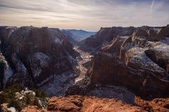 Mening van Zion Canyon van Observatiepunt Royalty-vrije Stock Afbeeldingen