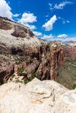 Mening van Zion National Park vanaf bovenkant die van Angel's, Utah, de V.S. landen Stock Foto