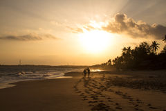 Mening van zonsondergangstrand Stock Afbeelding