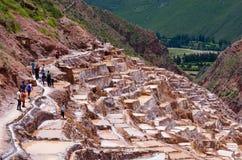 Mening van Zoute vijvers, Maras, Cuzco, Peru Royalty-vrije Stock Foto's