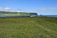Mening van zuidenkust in Dyrholaey, IJsland royalty-vrije stock foto's