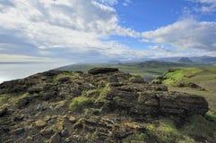 Mening van zuidenkust in Dyrholaey, IJsland stock foto