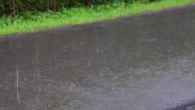 Mening van zware regen op weg stock footage