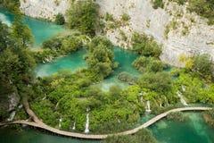 Mening vanaf bovenkant op verbazend deel van Plitvice-Meer Nationaal Park stock afbeelding