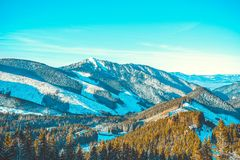 Mening vanaf bovenkant van Chopok-berg bij Jasna Nizke Tatry-toevluchtgebied, Slowakije Royalty-vrije Stock Fotografie
