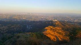 Mening vanaf bovenkant van de heuvel op Los Angeles Stock Foto