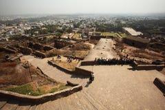 Mening vanaf bovenkant van Golconda Fort, Hyderabad Royalty-vrije Stock Afbeeldingen