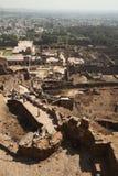 Mening vanaf bovenkant van Golkonda Fort, Hyderabad Stock Afbeeldingen