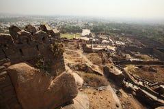 Mening vanaf bovenkant van Golkonda Fort, Hyderabad Stock Afbeelding