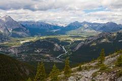 Mening vanaf de bovenkant van de Berg van de Zwavel, Banff Royalty-vrije Stock Afbeeldingen