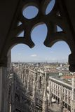Mening vanaf de bovenkant van Duomo Di Milaan Royalty-vrije Stock Fotografie