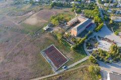 Mening vanaf de bovenkant van het dorp Huizen en tuinen Countrysid stock foto
