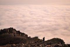 Mening vanaf de bovenkant van Merapi-vulkaan Stock Foto