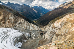 Mening vanaf de bovenkant van Pitztal-gletsjer Royalty-vrije Stock Foto