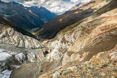 Mening vanaf de bovenkant van Pitztal-gletsjer Royalty-vrije Stock Fotografie