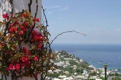 Mening vanuit het hoge gezichtspunt aan de kuststad Royalty-vrije Stock Foto