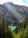 Meningen die rond Meer Louise, Lakeview-sleep wandelen, Duidelijk van zes gletsjers, Meer Agnes, van het Spiegelmeer, Kleine en G Stock Foto
