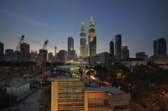 Meningen over Kuala Lumpur City Centre (KLCC) stock foto's
