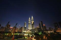 Meningen over Kuala Lumpur City Centre (KLCC) royalty-vrije stock foto