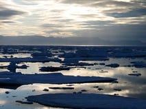Meningen rond Spitsbergen - nationaal ijs Stock Foto