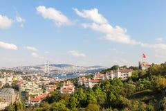 Meningen van de brug en Istanboel van Bosphorus Royalty-vrije Stock Foto's