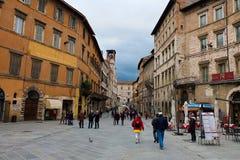 Meningen van de straten van de mooie stad van Perugia Royalty-vrije Stock Foto