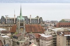Meningen van de Toren van de Kathedraal, Lausanne, Meer Genève, Mei 2006 stock fotografie