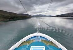 Meningen van fjord, Akureyri (IJsland) Stock Foto's