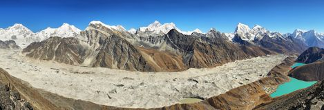 Meningen van Gokyo Ri, het nationale park van Sagarmatha, Khumbu-vallei, Nepal Stock Foto's