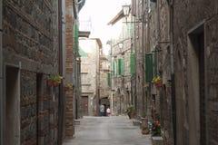 Meningen van het historische dorp Santa Fiora Grosseto Italy stock foto