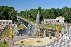 Meningen van het overzeese kanaal en de cascade van fonteinen royalty-vrije stock foto
