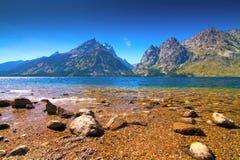 Meningen van Jenny en Jackson Lakes in het Nationale Park van Grand Teton, Wyoming Royalty-vrije Stock Foto's