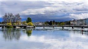 Meningen van leman meer in Genève, Stock Afbeelding