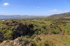 Meningen van Onderstel Arbel en rotsen israël Stock Foto