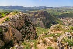 Meningen van Onderstel Arbel en rotsen isrel Stock Afbeelding
