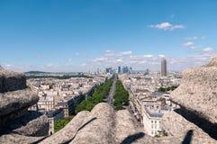 Meningen van Parijs van boven op Arc de Triomphe Stock Fotografie