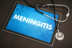 Meningitis (infectious disease) diagnosis medical concept on. Tablet screen with stethoscope Royalty Free Stock Image