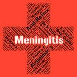 Meningitis słowo Wskazuje słabe zdrowie I unieszczęśliwienia Fotografia Stock